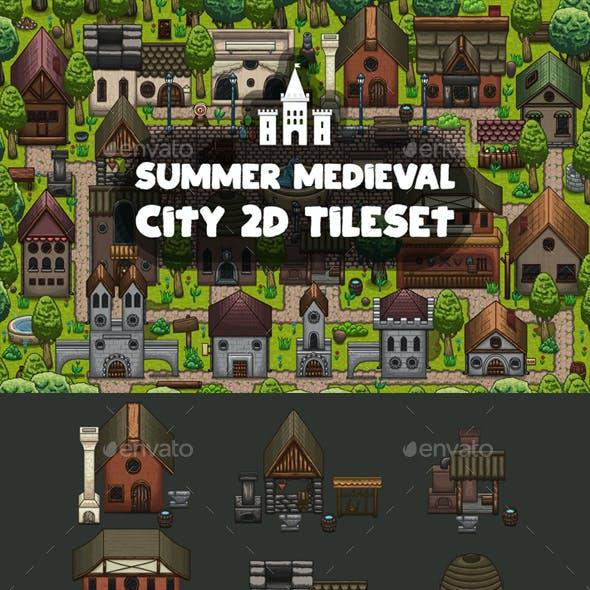 Summer Medieval City Game Tileset