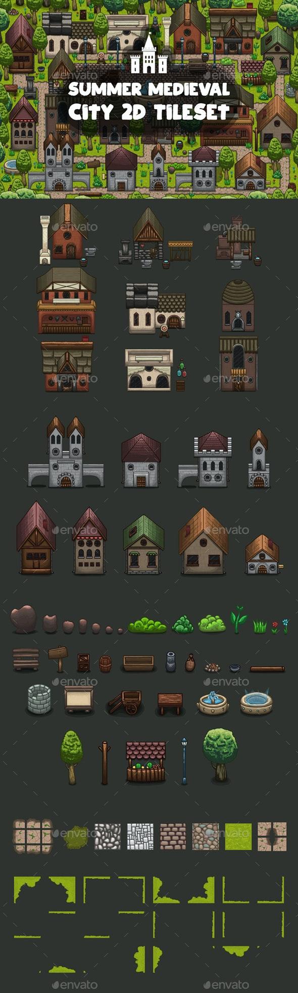 Summer Medieval City Game Tileset - Tilesets Game Assets