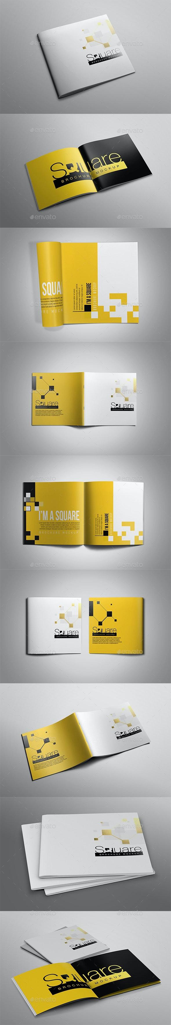 Square Brochure Mockup - Books Print