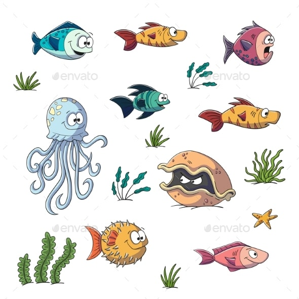 Collection of Cartoon Fishes - Animals Characters