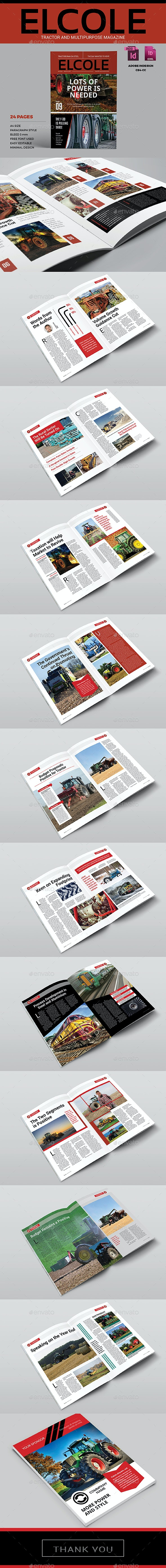 Tractor and Multipurpose Magazine Template - Elcole - Magazines Print Templates