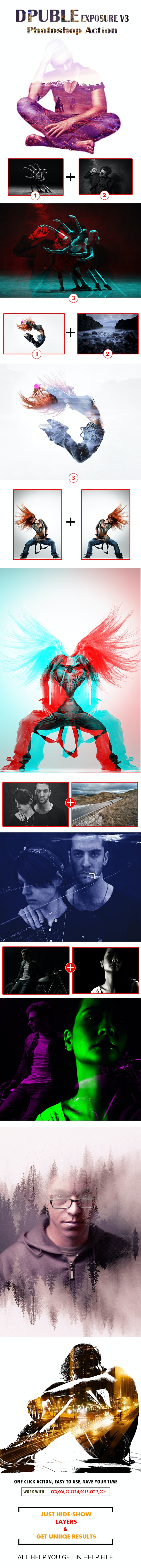 Double Exposure V3 Photoshop Action - Photo Effects Actions