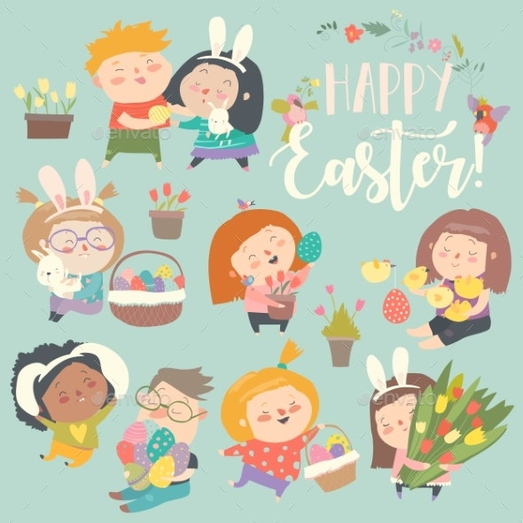 Children with Easter Theme - Miscellaneous Seasons/Holidays