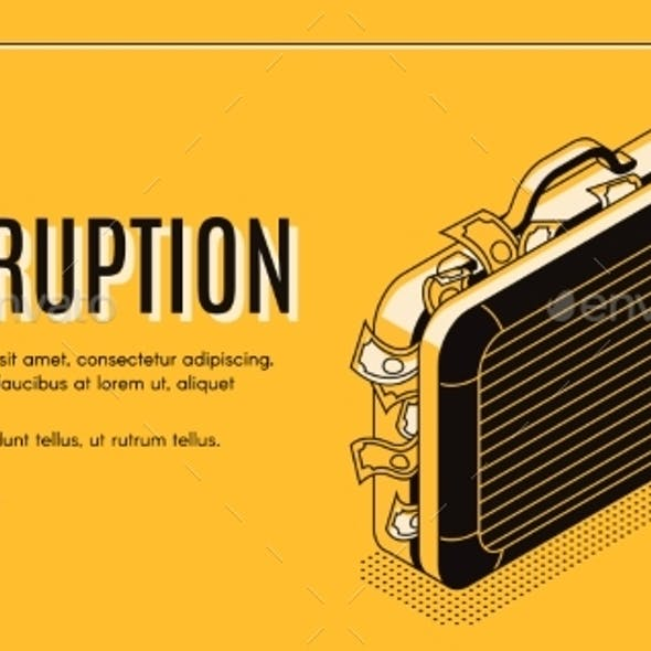 Corruption Isometric Vector Landing Page Template