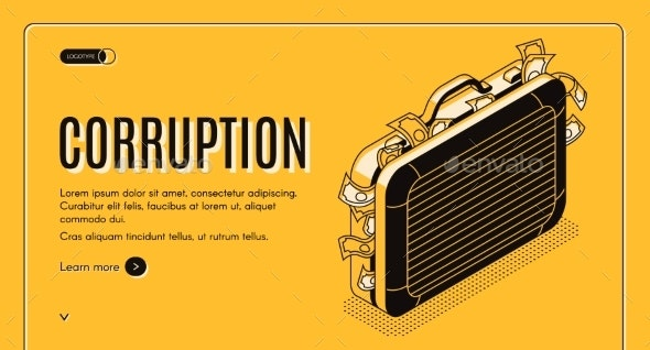 Corruption Isometric Vector Landing Page Template - Concepts Business