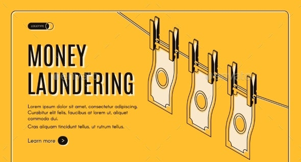 Money Laundering Isometric Vector Web Banner - Concepts Business