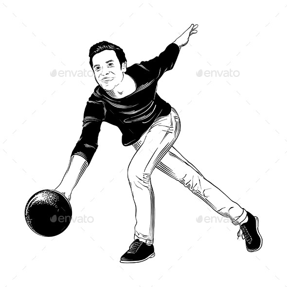 Hand Drawn Sketch of Bowling Player in Black - Sports/Activity Conceptual
