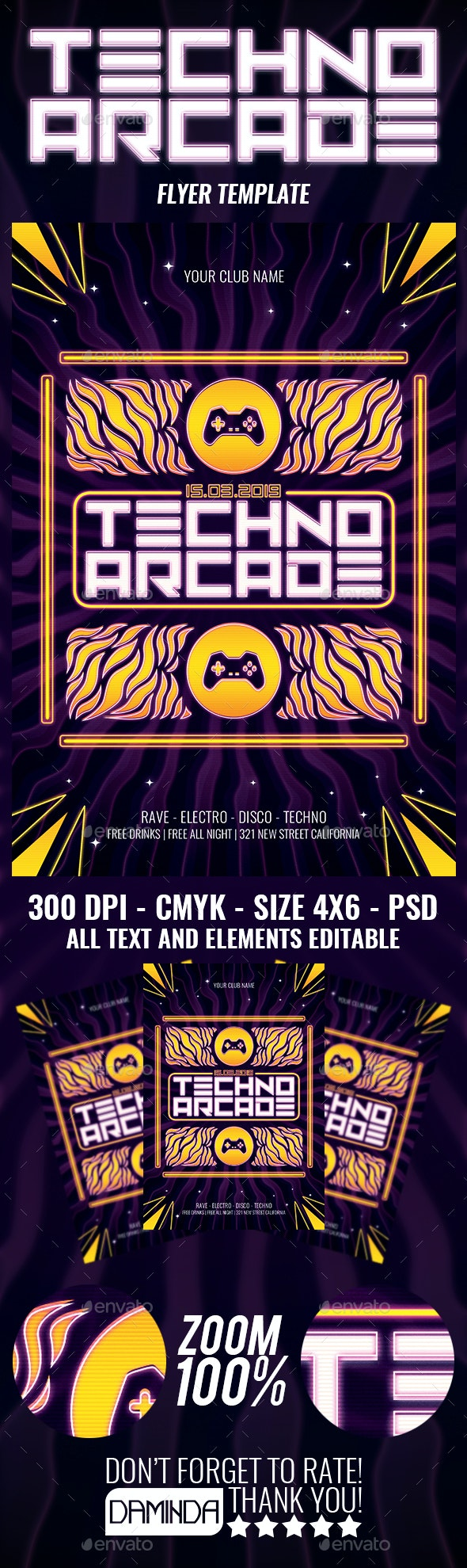 Techno Arcade New 3 Flyer Template - Clubs & Parties Events
