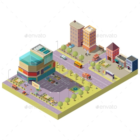 Vector Isometric City Center with Shopping Mall - Buildings Objects