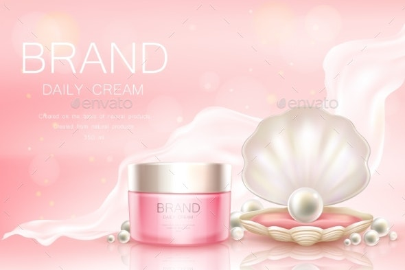 Vector Daily Cream in Jar Cosmetic Background - Man-made Objects Objects