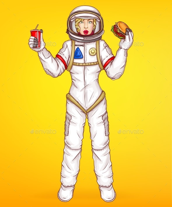 Vector Pop Art Spacewoman Holds Food - People Characters