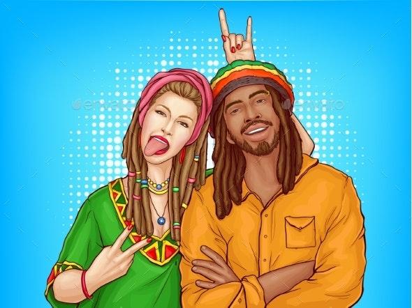 Vector Pop Art Rastafarian Couple - People Characters