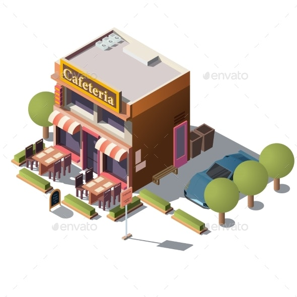 Vector Isometric Cafeteria Restaurant - Buildings Objects