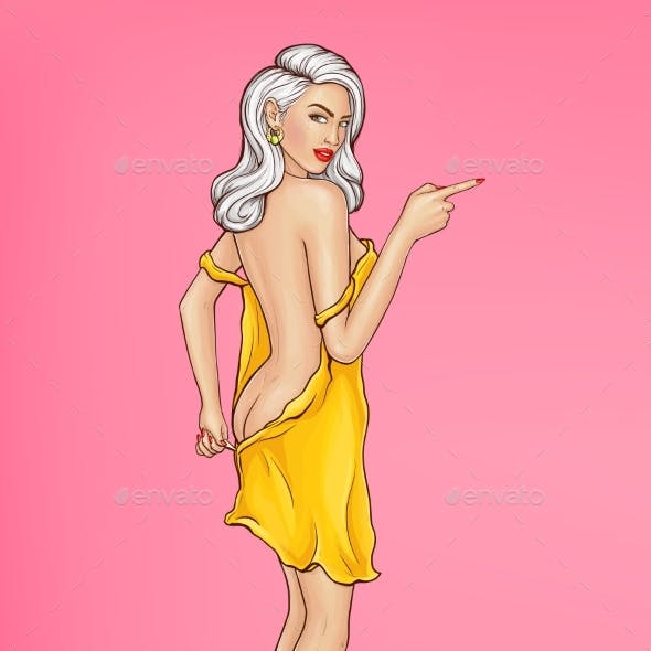 Vector Glamour Girl Points Direction Undresses