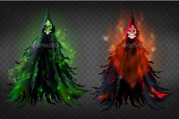 Vector Death Skeleton Reaper in Black Hood - Monsters Characters