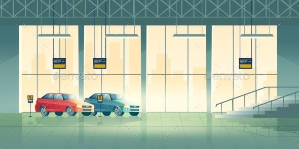 Car Dealer Salon Showroom Interior Cartoon Vector - Industries Business