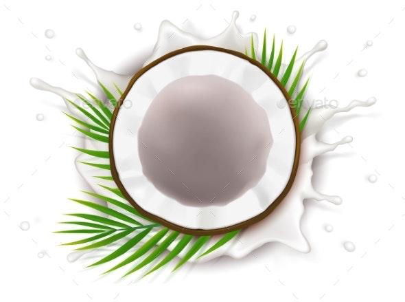 Broken Coconut in Milk Splash - Organic Objects Objects
