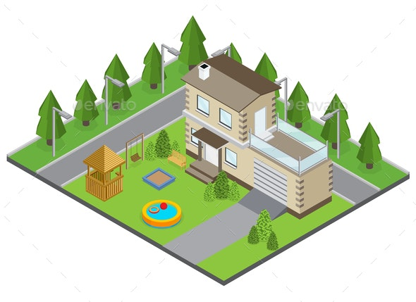 Country Building Illustration - Buildings Objects