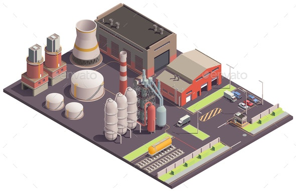 Plant Site Isometric Composition - Industries Business