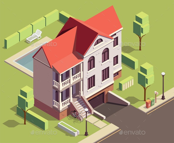 Suburban Residential Building Composition - Buildings Objects