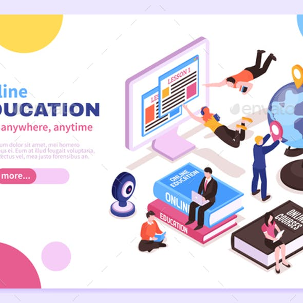 Online Education Isometric Poster