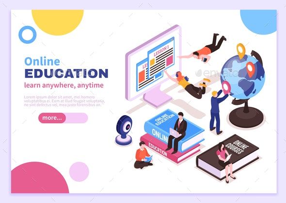 Online Education Isometric Poster - Web Technology