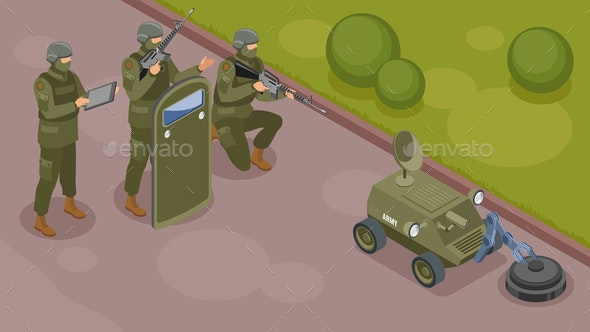 Military Robots Isometric Composition - Miscellaneous Vectors
