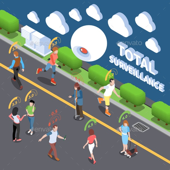 Total Surveillance Isometric Composition - People Characters