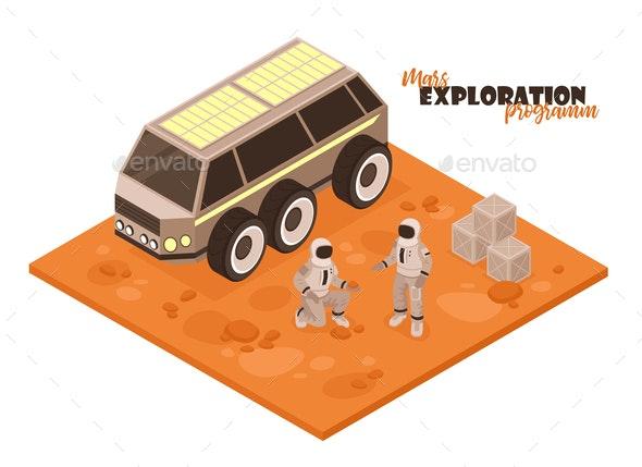 Mars Rover Isometric Background - Miscellaneous Vectors