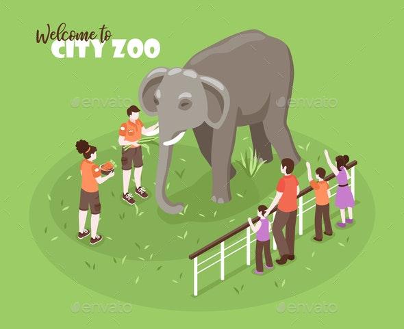 Elephant Zoo Isometric Background - Animals Characters