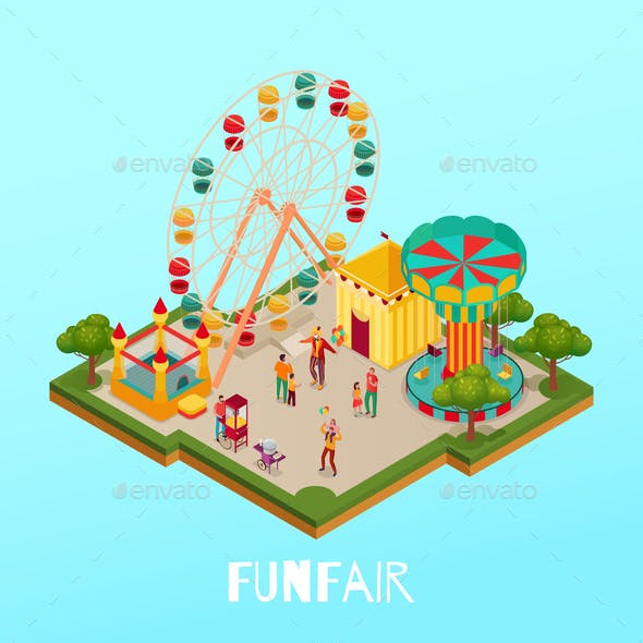 Fun Fair Isometric Illustration