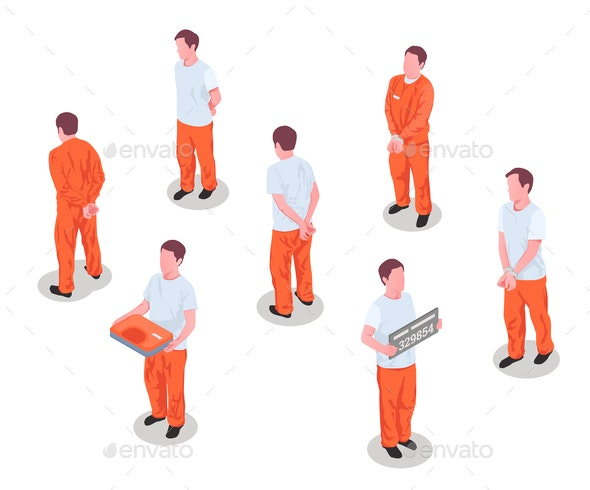Jail Prisoners Characters Set - People Characters