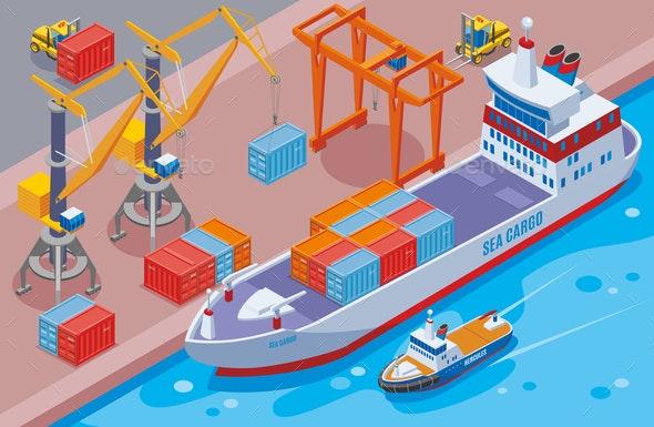 Seaport Isometric Composition - Miscellaneous Vectors