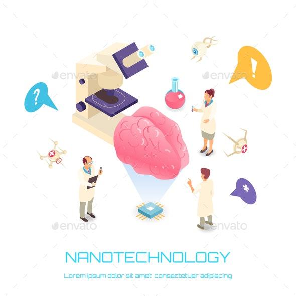 Nanotechnology Isometric Concept - Miscellaneous Vectors