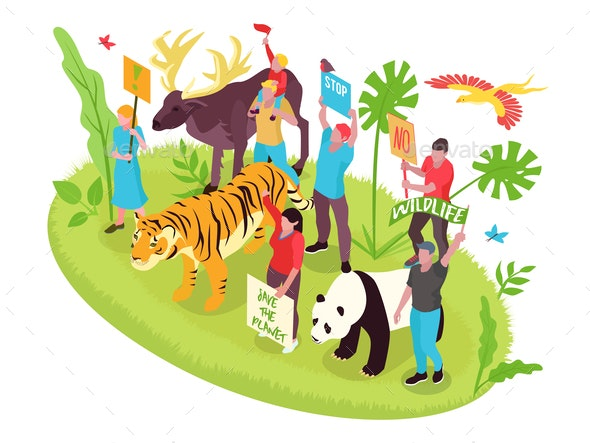 Wildlife Protection Isometric Concept - Animals Characters