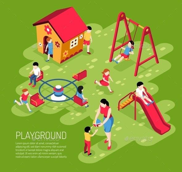Kindergarten Play Ground Isometric Illustration - People Characters