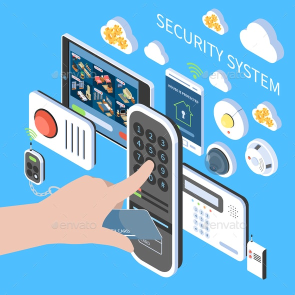 Security System Isometric Composition - Miscellaneous Vectors