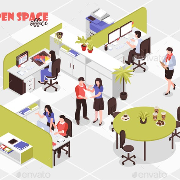 Open Space Office Isometric Illustration