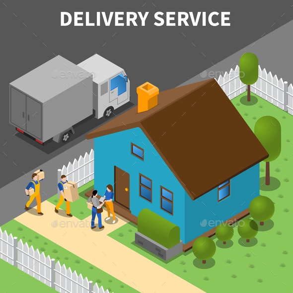 Delivery Service Isometric Background - Miscellaneous Vectors