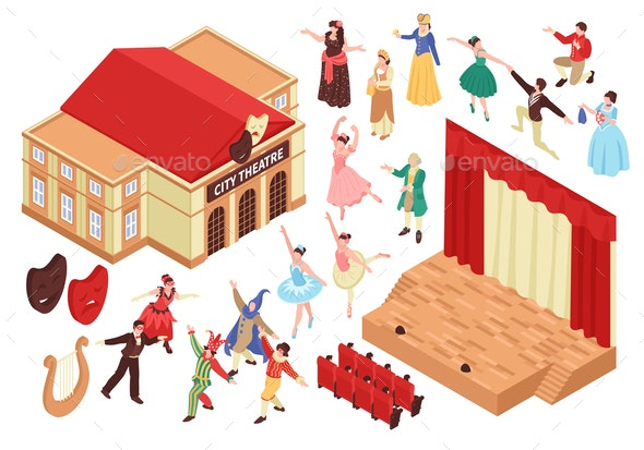 City Theatre Isometric Set - Miscellaneous Vectors