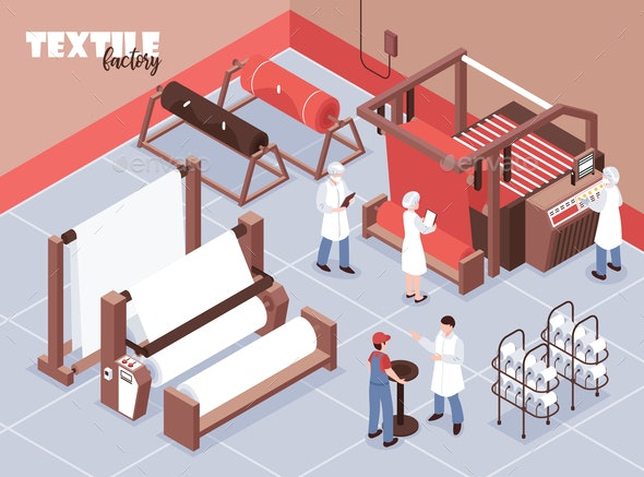 Textile Factory Illustration - Industries Business
