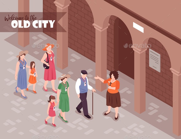 Guide Excursion Isometric Illustration - People Characters