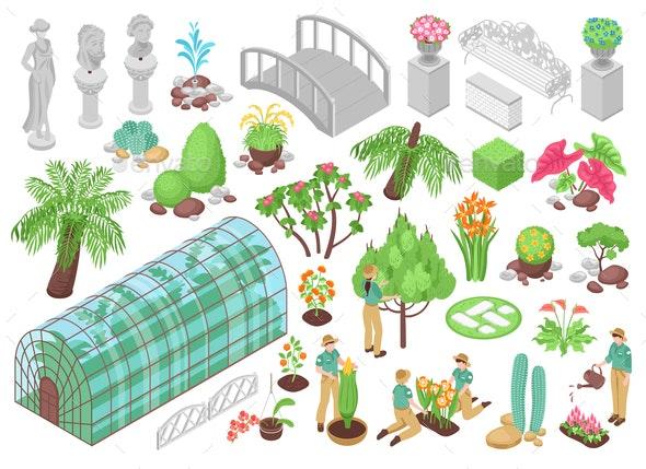Botanical Garden Icons Set - Flowers & Plants Nature