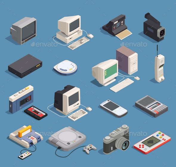 Retro Gadgets Set - Computers Technology