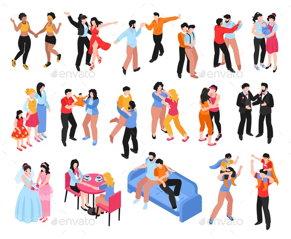 Homosexual Families Isometric Icons Set - People Characters