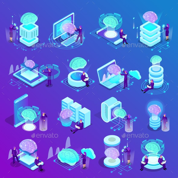 Artificial Intelligence Isometric Icons - Computers Technology