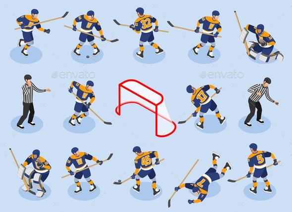 Ice Hokey Isometric Icons - Sports/Activity Conceptual