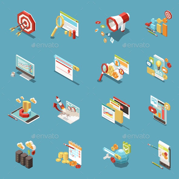 Web SEO Isometric Icon Set - Concepts Business