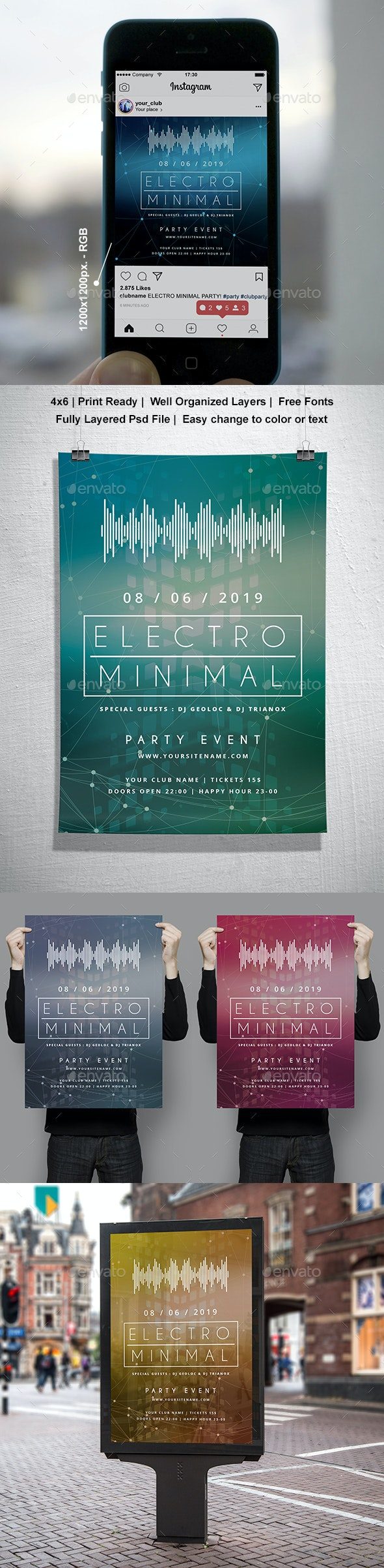 Electro Minimal Music Party Modern Poster Template - Clubs & Parties Events