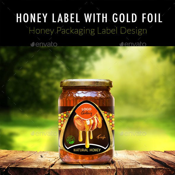 Honey Label With Gold Foil